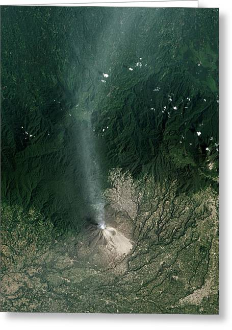 Sinabung Volcanic Eruption Greeting Card by Nasa Earth Observatory