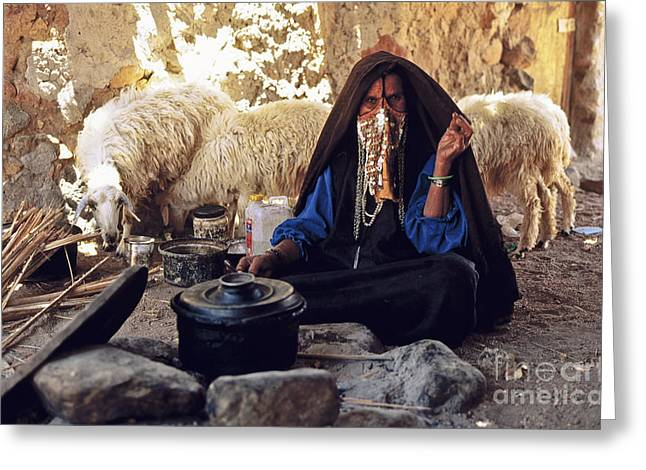 Sinai Bedouin Woman In Her Kitchen Greeting Card by Heiko Koehrer-Wagner