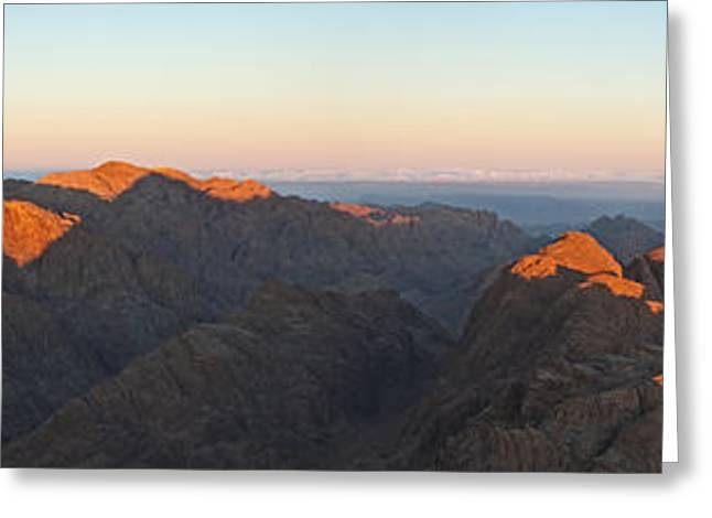 Greeting Card featuring the pyrography Sinai View From St. Catherine Montain On Sunrise by Julis Simo