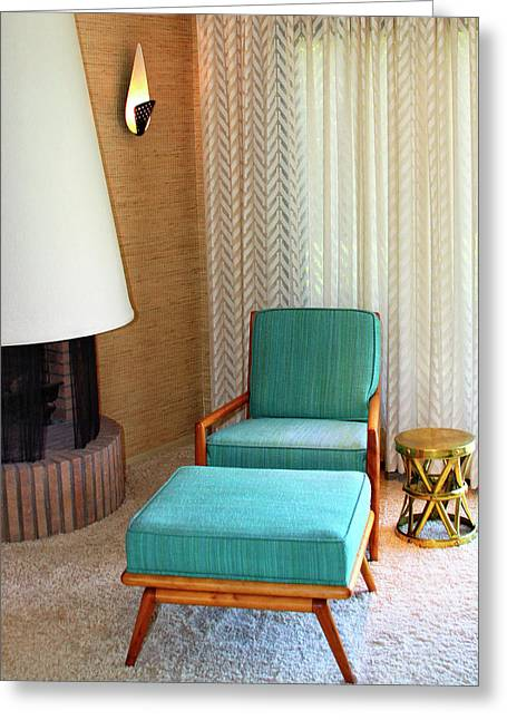 Sinatra Blue Chair Sinatra House Palm Springs Greeting Card by William Dey