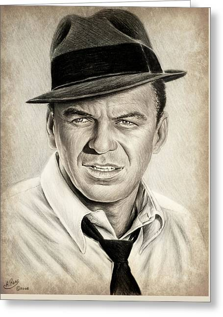 Sinatra Sepia Mix Greeting Card by Andrew Read