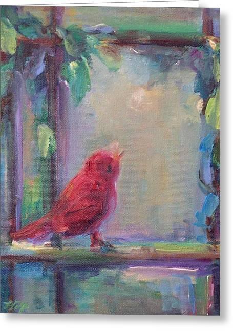 Greeting Card featuring the painting Sing Little Bird by Mary Wolf