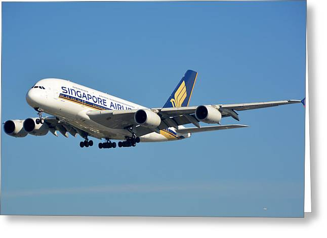 Singapore Airbus A380-841 9v-skn Los Angeles International Airport January 19 2015 Greeting Card