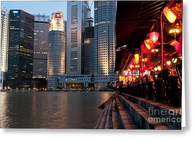 Singapore Boat Quay 02 Greeting Card