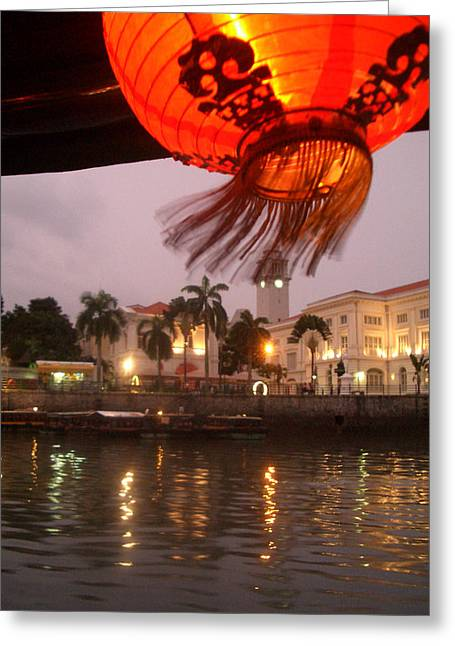 Singapore Boat Quay Greeting Card by Jack Edson Adams
