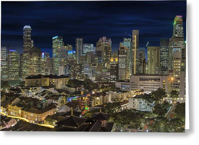 Singapore Central Business District Skyline And Chinatown At Dus Greeting Card by David Gn