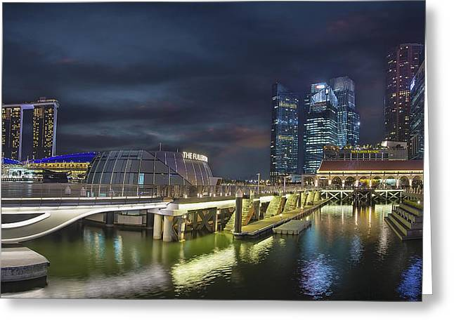 Singapore City By The Fullerton Pavilion At Night Greeting Card by David Gn