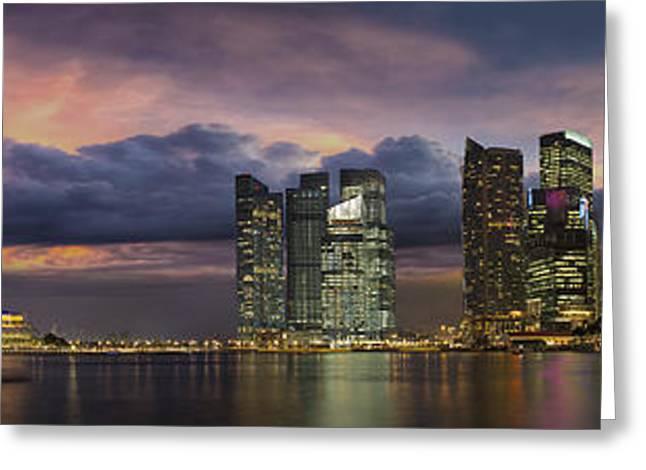 Singapore City Skyline At Sunset Panorama Greeting Card by Jit Lim