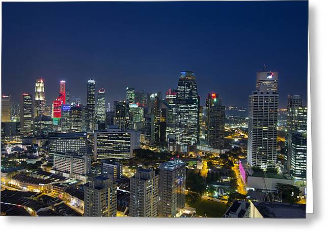 Singapore Cityscape At Blue Hour Greeting Card by David Gn