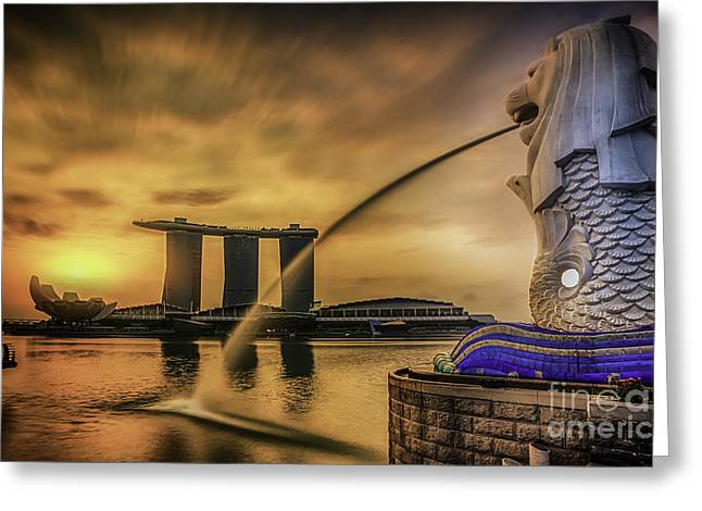 Singapore Landmark Merlion  Greeting Card by Anek Suwannaphoom