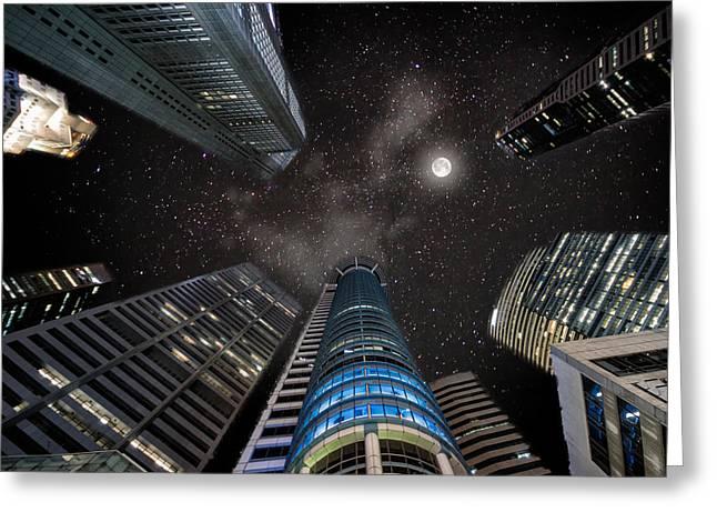 Singapore Moon Sky Greeting Card