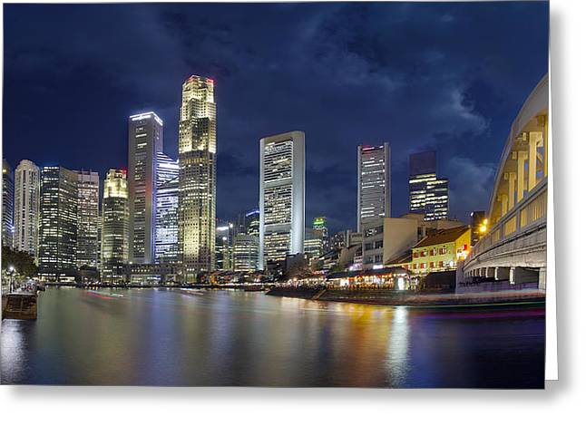 Singapore Skyline From Boat Quay Greeting Card