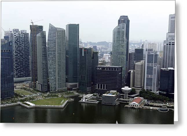Greeting Card featuring the photograph Singapore Skyline by Shoal Hollingsworth