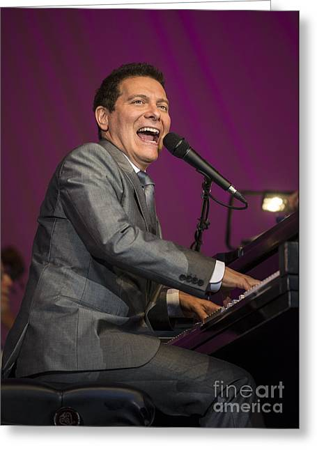 Singer Michael Feinstein Performing With The Pasadena Pops. Greeting Card