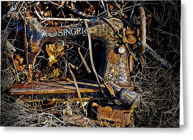 Singer Sewing Machine Greeting Card by J Larry Walker