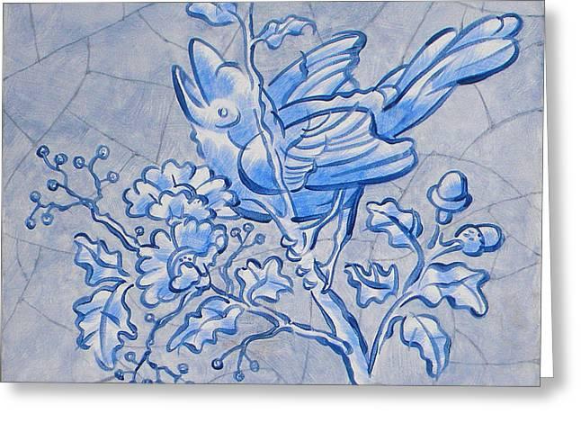 Singing Bird Delft Blue Greeting Card by Raymond Van den Berg