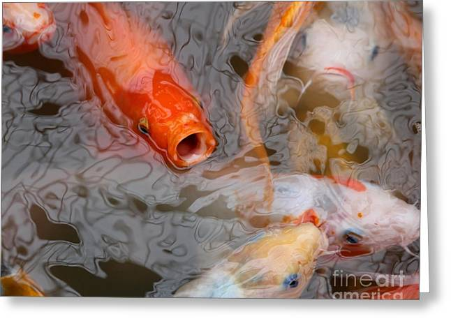 Singing Carp Greeting Card by Theresa Willingham
