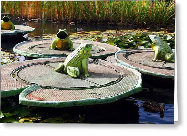 Singing Frogs Greeting Card
