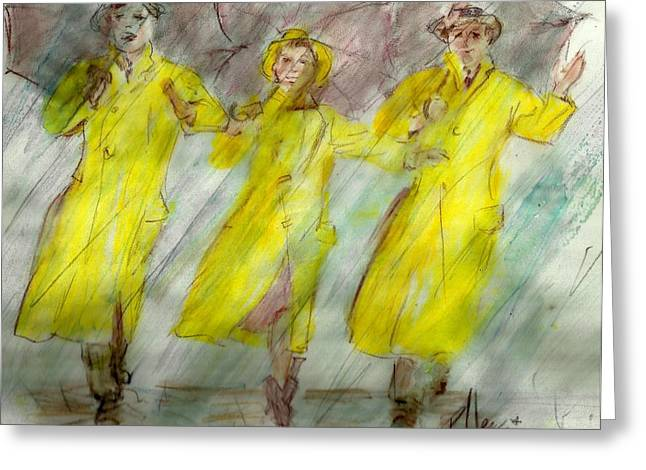 Singing In The Rain Greeting Card by P J Lewis