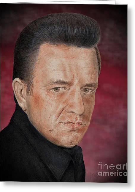 Singing Legend Johnny Cash Version II Greeting Card