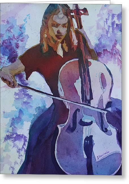 Singing The Cello Greeting Card by Jenny Armitage