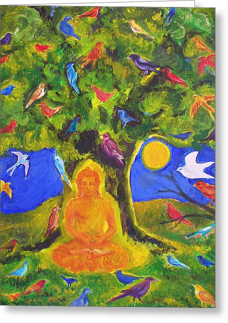Buddha And The Birds Greeting Card