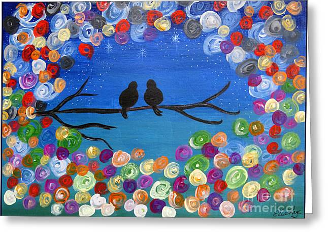 Singing To The Stars Tree Bird Art Painting Print Greeting Card