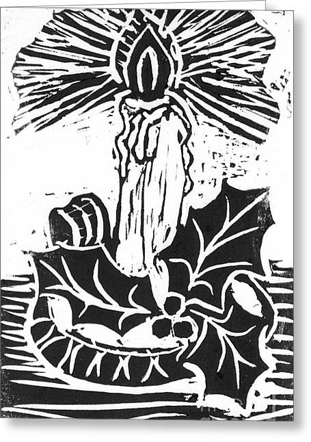 Single Candle With Holy Sprig  Block Print Greeting Card by Ellen Miffitt