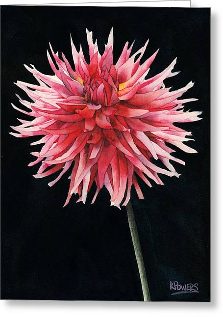 Greeting Card featuring the painting Single Dahlia by Ken Powers