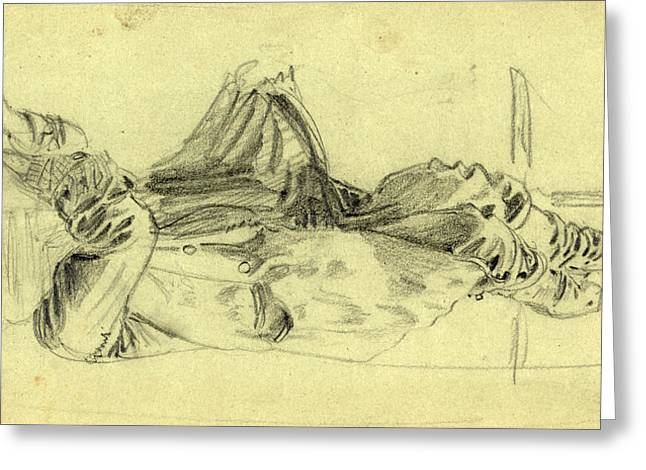 Single Reclining Figure With Cloth Over Face, 1860-1865 Greeting Card