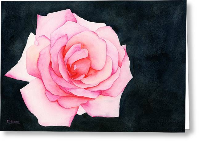 Greeting Card featuring the painting Single Rose by Ken Powers