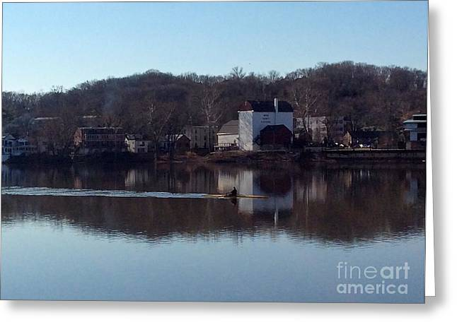 Single Scull On The Delaware Greeting Card