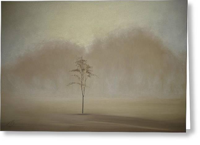 Single Tree - Pastel Greeting Card by Ben Kotyuk