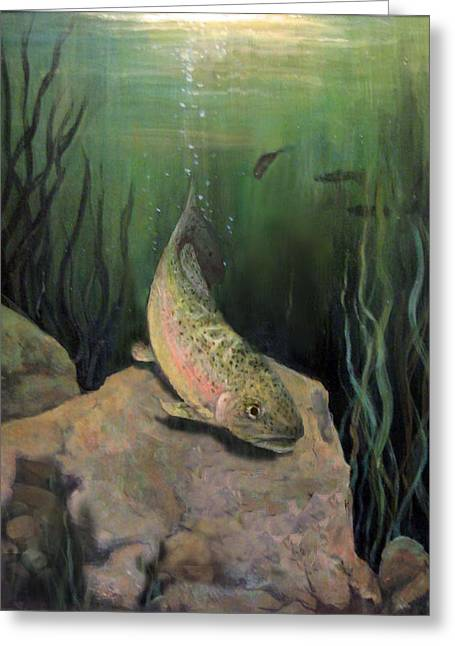 Single Trout Greeting Card by Donna Tucker