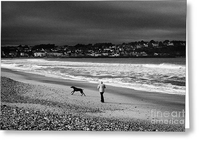 Single Woman Out Walking Her Dog On Ballycastle Beach In Winter County Antrim Northern Ireland Greeting Card
