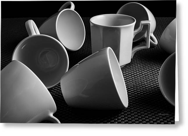 Greeting Card featuring the photograph Singled Out - Coffee Cups by Steven Milner