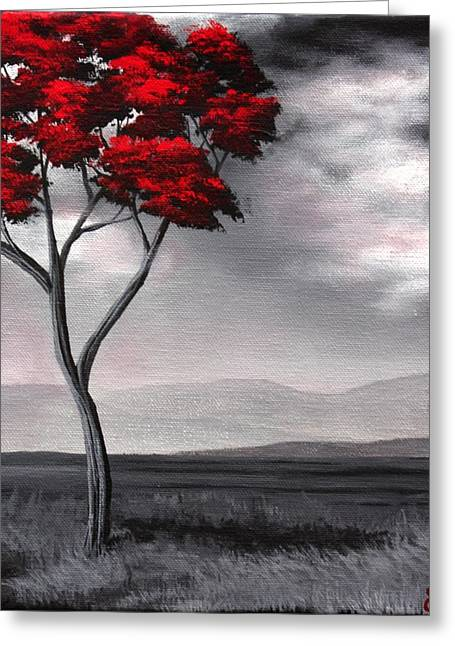 Singled Out Red Greeting Card by Erin Scott