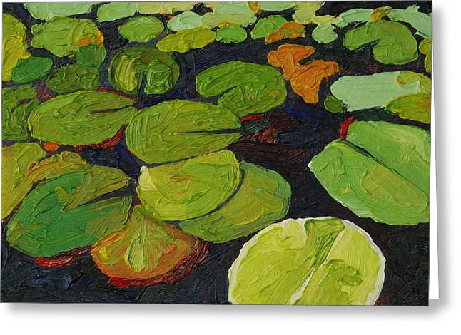 Singleton Lily Pads Greeting Card by Phil Chadwick