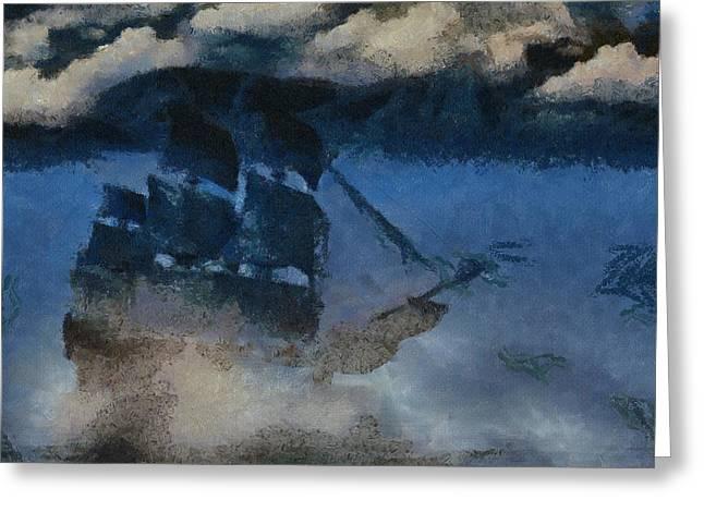 Sinking Sailer Greeting Card by Ayse and Deniz