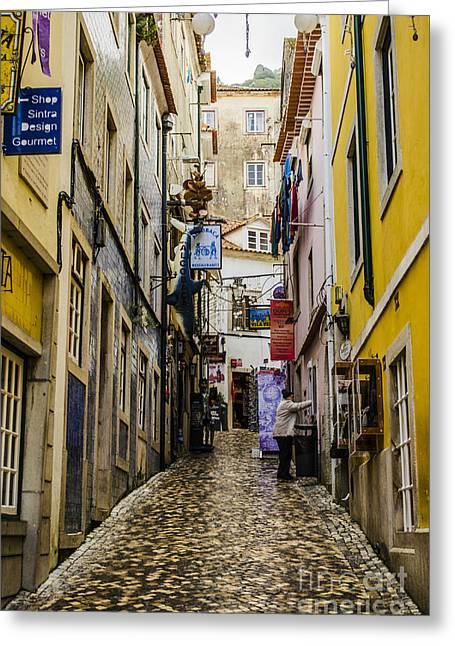 Sintra Street Greeting Card by Deborah Smolinske