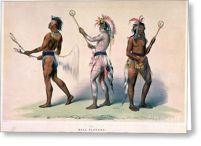 Sioux Lacrosse Players Greeting Card by Granger