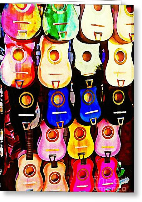Sippin Tequila And Playin Our Amigo Guitars Greeting Card by Bonnie Chapa