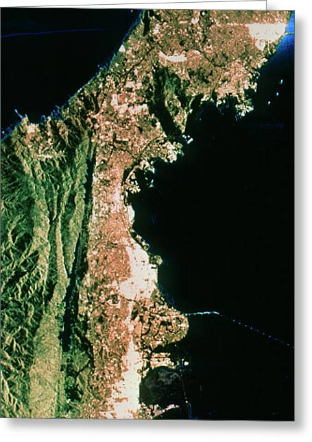 Sir-c Image Of San Francisco & Oakland Greeting Card by Nasa/science Photo Library