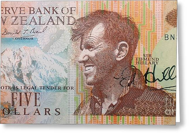 Sir Edmund Hillary Signed Banknote Greeting Card