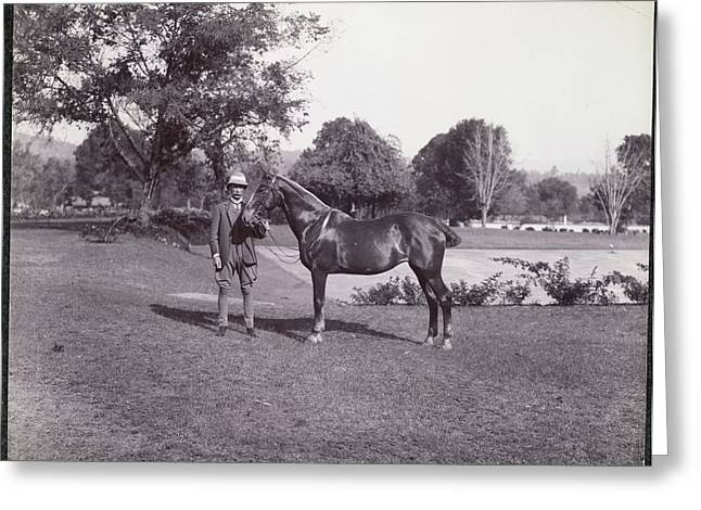 Sir Hugh Barnes With His Horse Greeting Card by British Library