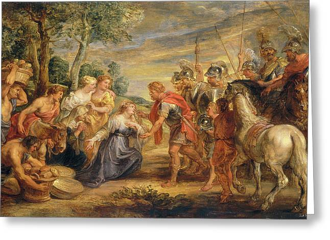 Sir Peter Paul Rubens, The Meeting Of David And Abigail Greeting Card by Quint Lox