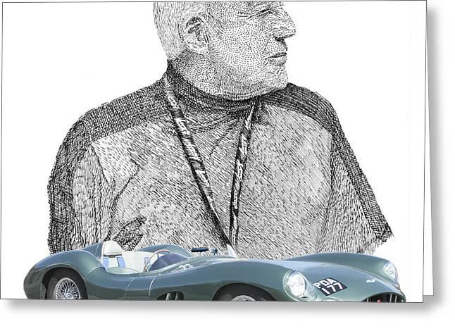 Sir Stirling Moss 1957 Aston Martin Greeting Card