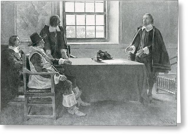 Sir William Berkeley Surrendering To The Commissioners Of The Commonwealth, Illustration From In Greeting Card by Howard Pyle
