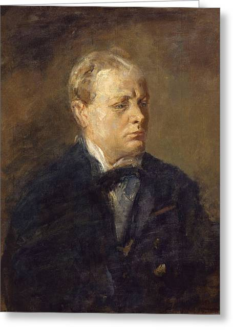 Sir Winston Leonard Spencer Churchill  Greeting Card by Celestial Images