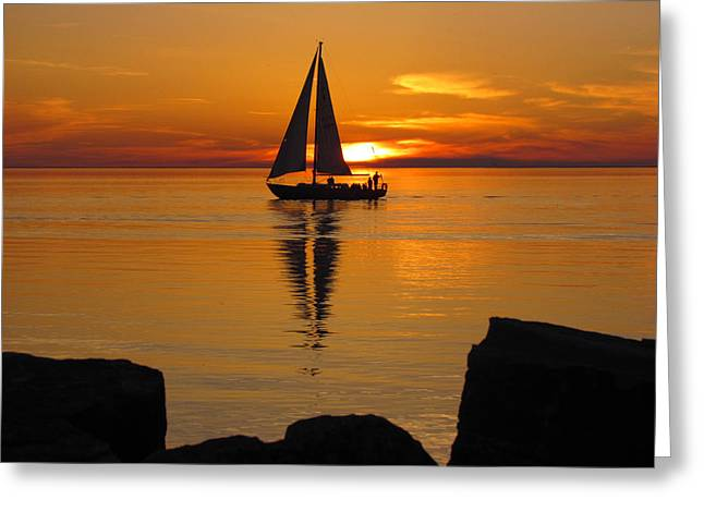 Sister Bay Sunset Sail 2 Greeting Card by David T Wilkinson